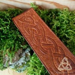 Marque page cuir Edoras entrelacs celtiques - Marron