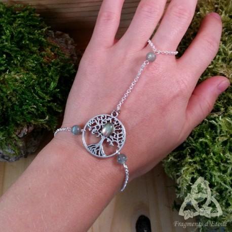 Bracelet de main Grand Arbre de Vie - Labradorite