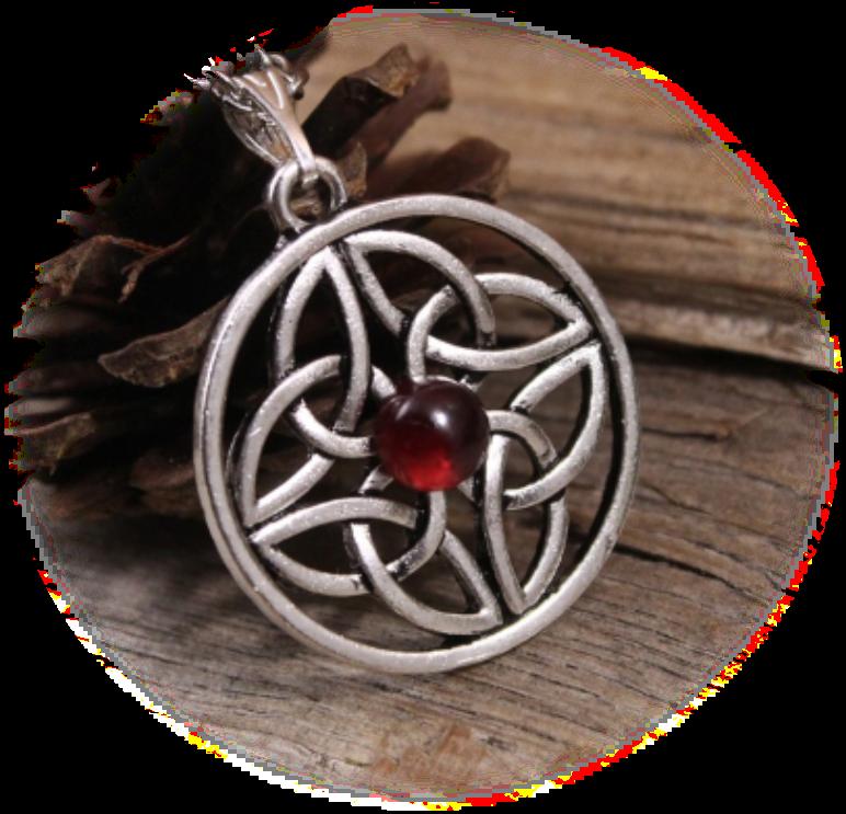 Collier médiéval celtique en métal argenté orné de triquetra et d'une pierre fine Grenat