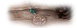 Collier arbre de vie yggdrasil elfique malachite vert foret