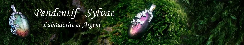 Pendentif elfique Sylvae Larme Labradorite Feuille lierre Argent massif reflet violet doré cuivre ésotérisme païen mariage